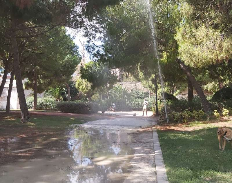 Tubería rota en el Jardín del Túria de Valencia