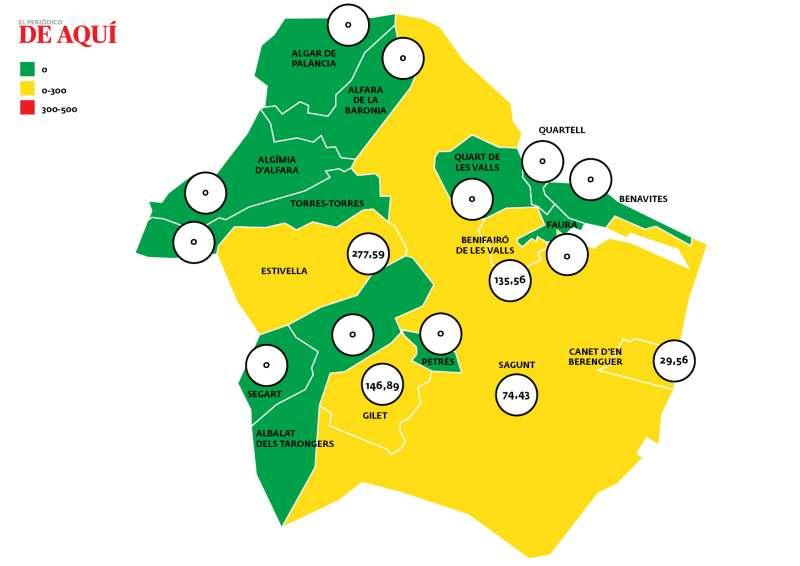 Mapa de incidencia acumulada por municipios del Camp de Morvedre. / Fuente: Conselleria de Sanitat Universal i Salut Pública.
