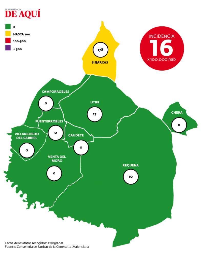 Mapa de incidencia de la comarca a fecha del 22 de septiembre. Fuente: GVA