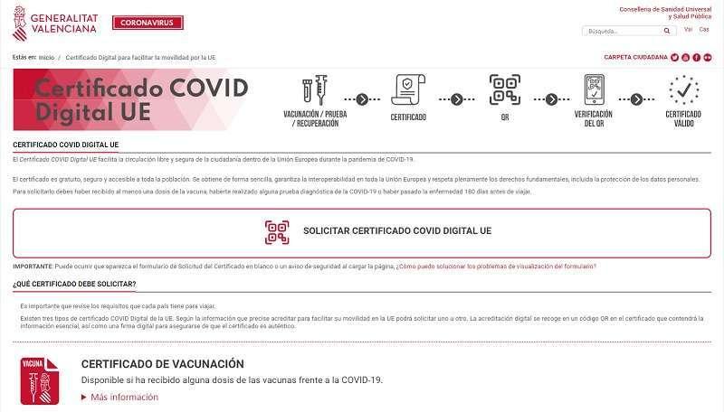 Plataforma para solicitar el Certificado Covid en la Comunitat Valenciana