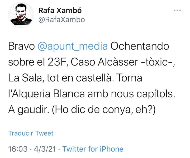 Tuit reciente del ex miembro del Consell Rector, Rafa Xambó.