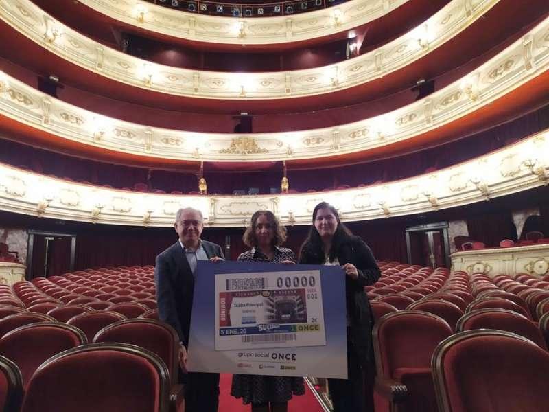 Imagen facilitada por la ONCE del cupón con la imagen del Teatro Principal de València. EFE/ONCE