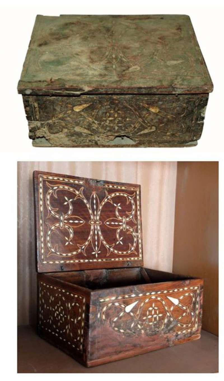 La caja antes y después de la restauración