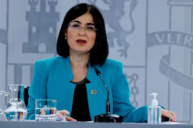 La ministra de Sanidad, Carolina Darias, ofrece una rueda de prensa al término del Consejo Interterritorial del Sistema Nacional de Salud el pasado 20 de abril. EFE/Zipi/Archivo
