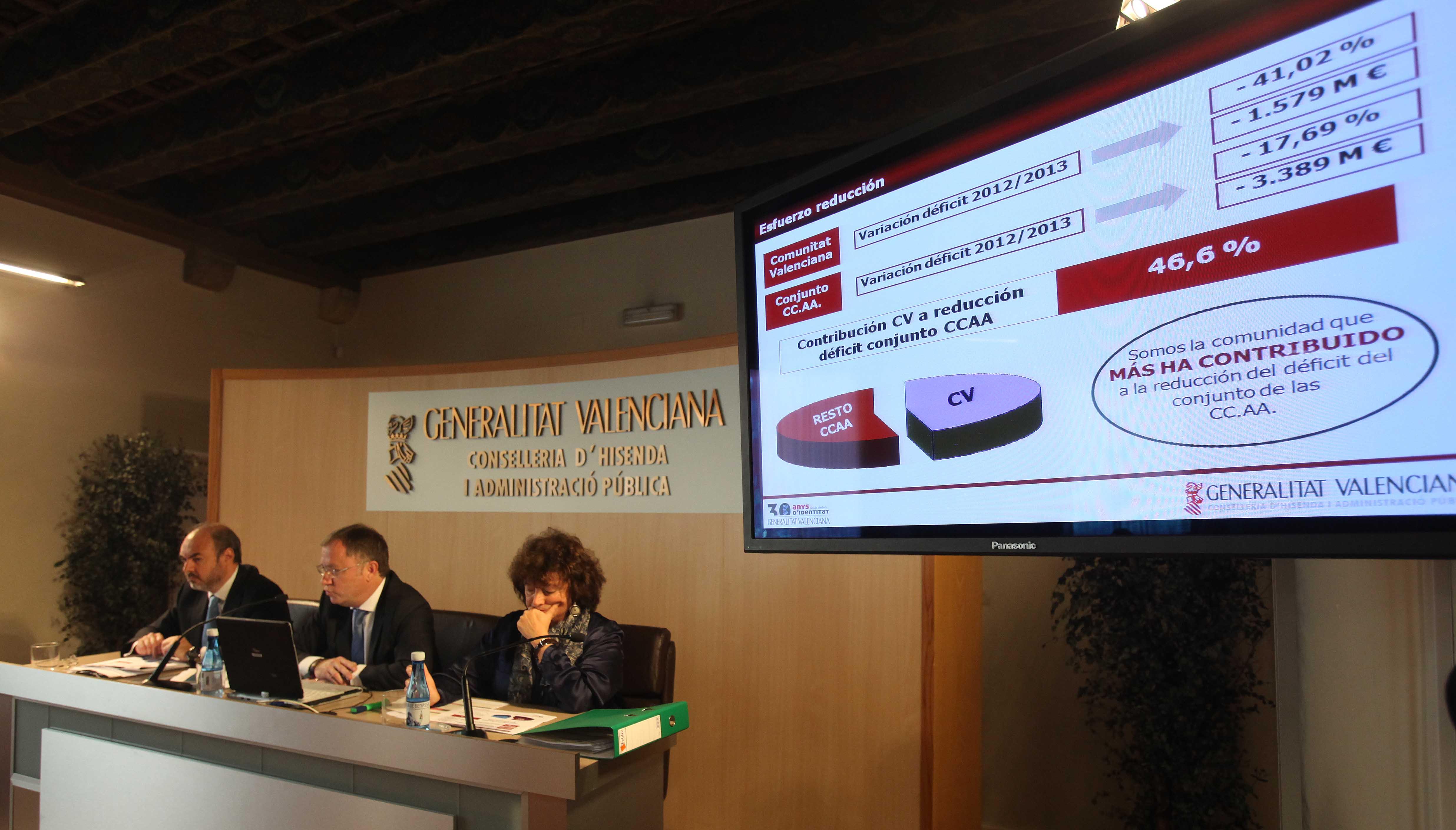 El conseller de economía Moragues durante el acto de presentación de los datos económicos de la Comunitat Valenciana.