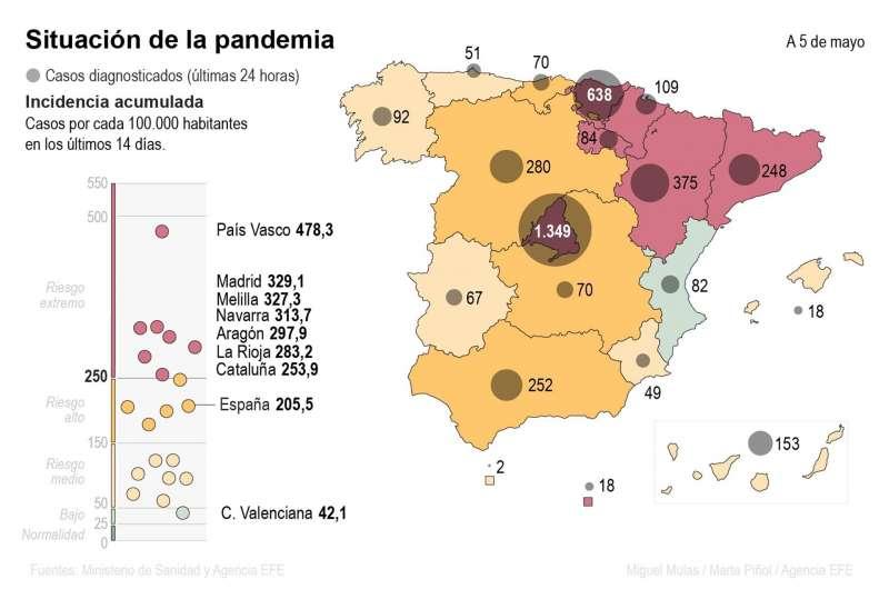 Mapa del coronavirus en España a 5 de mayo de 2021. EFE