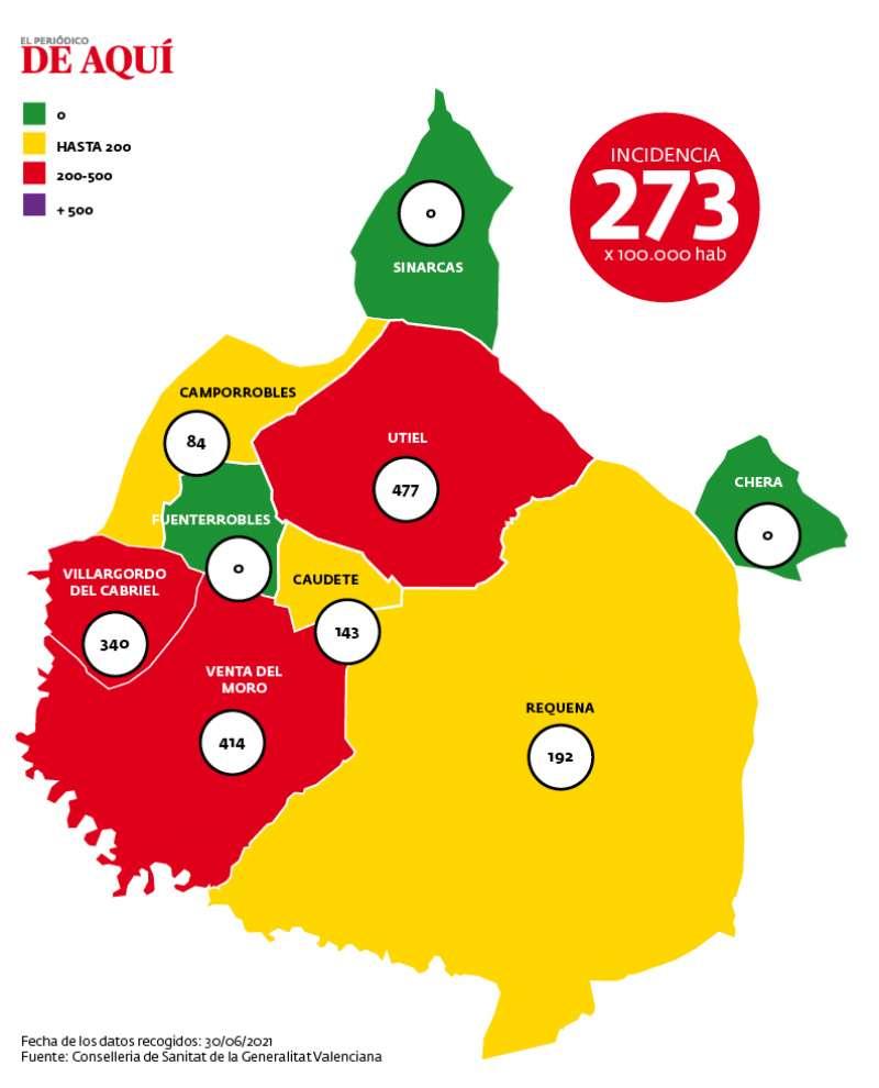 Mapa de incidencia de la comarca.
