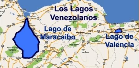 Mapa de los lagos Maracaibo y Valencia en Venezuela. Foto Anca 24